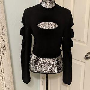 Express black cutout cropped sweater